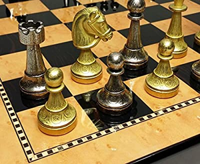 "ITALFAMA Real Brass Classic Staunton Chess Set W/ 15"" High Gloss Dark Walnut & Birdseye Maple Color Board"
