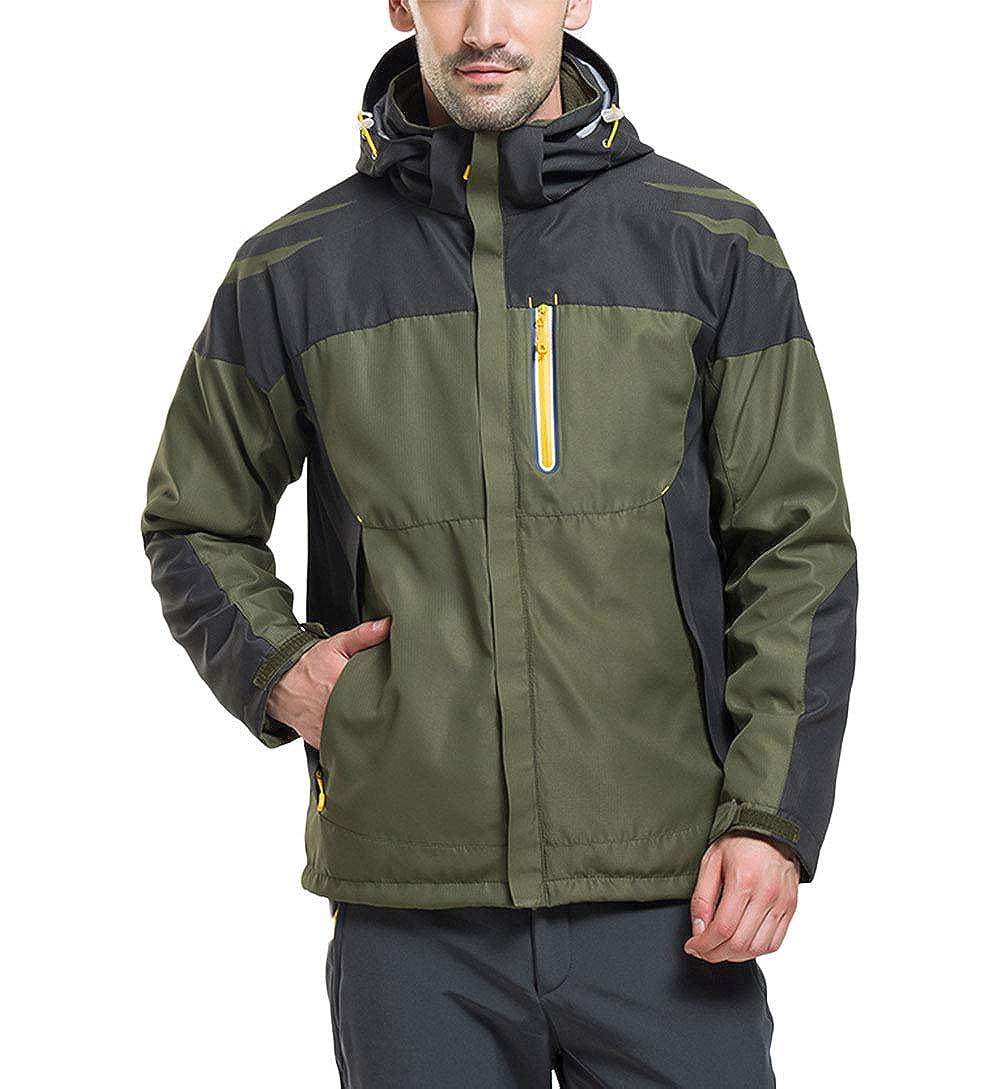 Armée Verte XS SANKE Veste de Ski d'hiver imperméable Coupe-Vent imperméable 3 en 1 pour Homme