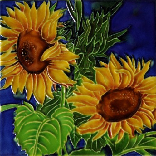 (2 Sunflowers - Decorative Ceramic Art Tile - 6
