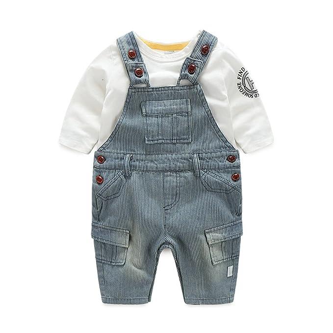 c48d251eed3 Newborn Baby Boy Vintage Suspender Clothing Set Denim Long Sleeve Winter  Warm Outfit 18-24