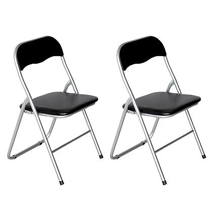 AltoBuy Hugo - - Juego de 2 sillas plegables negras: Amazon ...