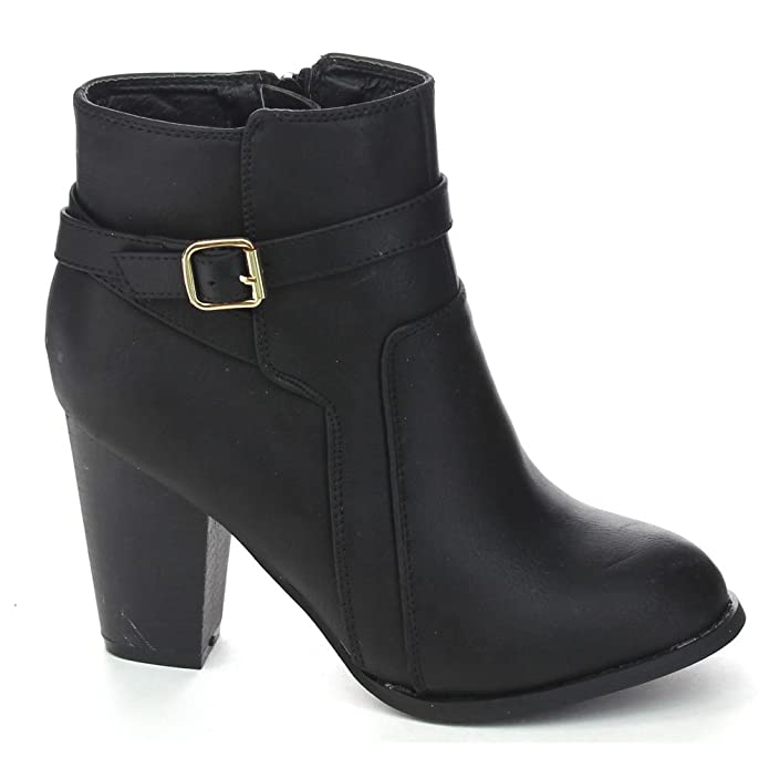 Demo-6 Women's Buckle Chunky Stacked Heel Ankle Booties