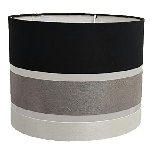 11quot Charcoal Stripe Drum Pendant Ceiling Table Lamp Shade Black Grey White