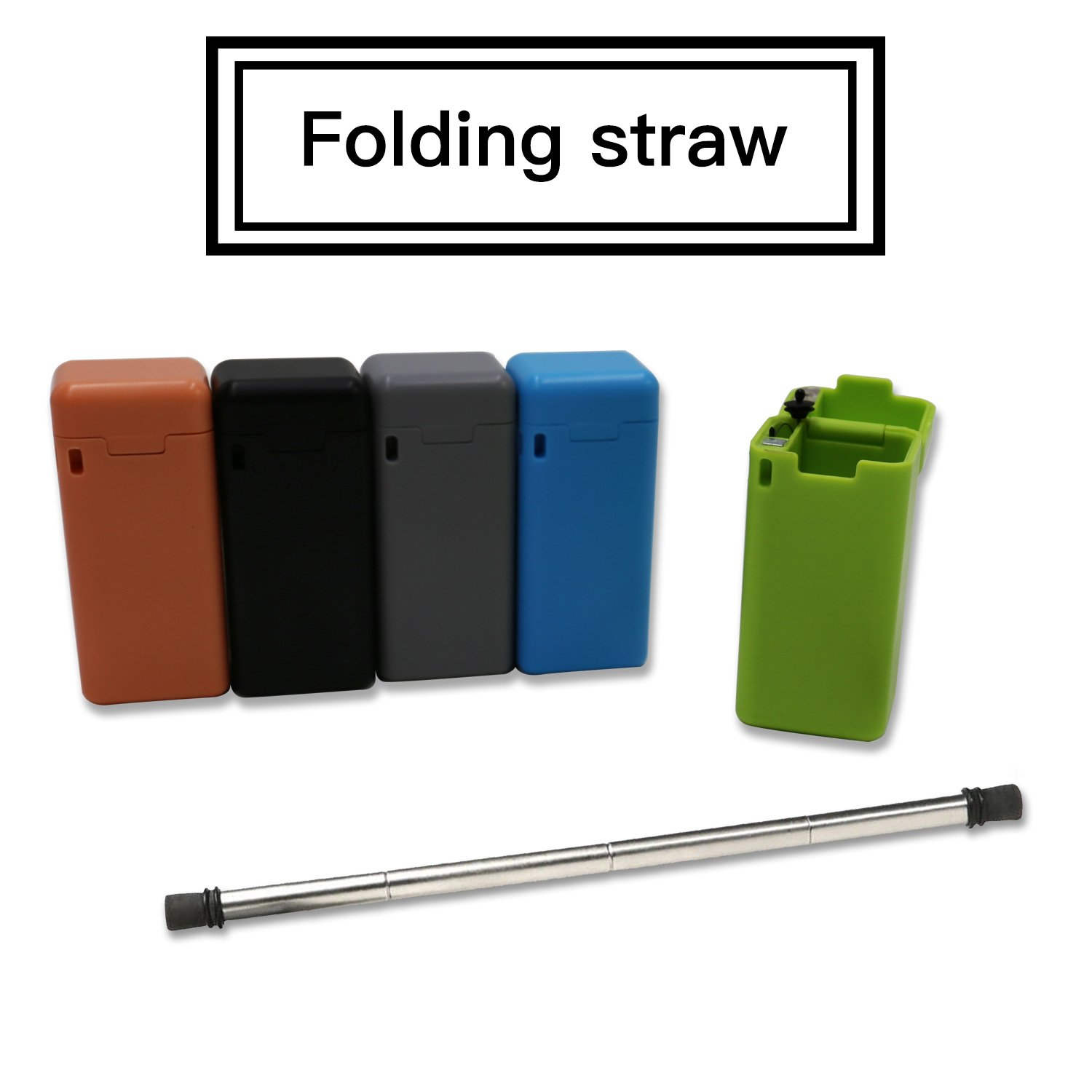Folding Drinking Straw Stainless Steel,Final Collapsible Reusable Stainless Straw Medical-Grade Food-Grade Drinking Straws Portable with Hard Case Cleaning Brush