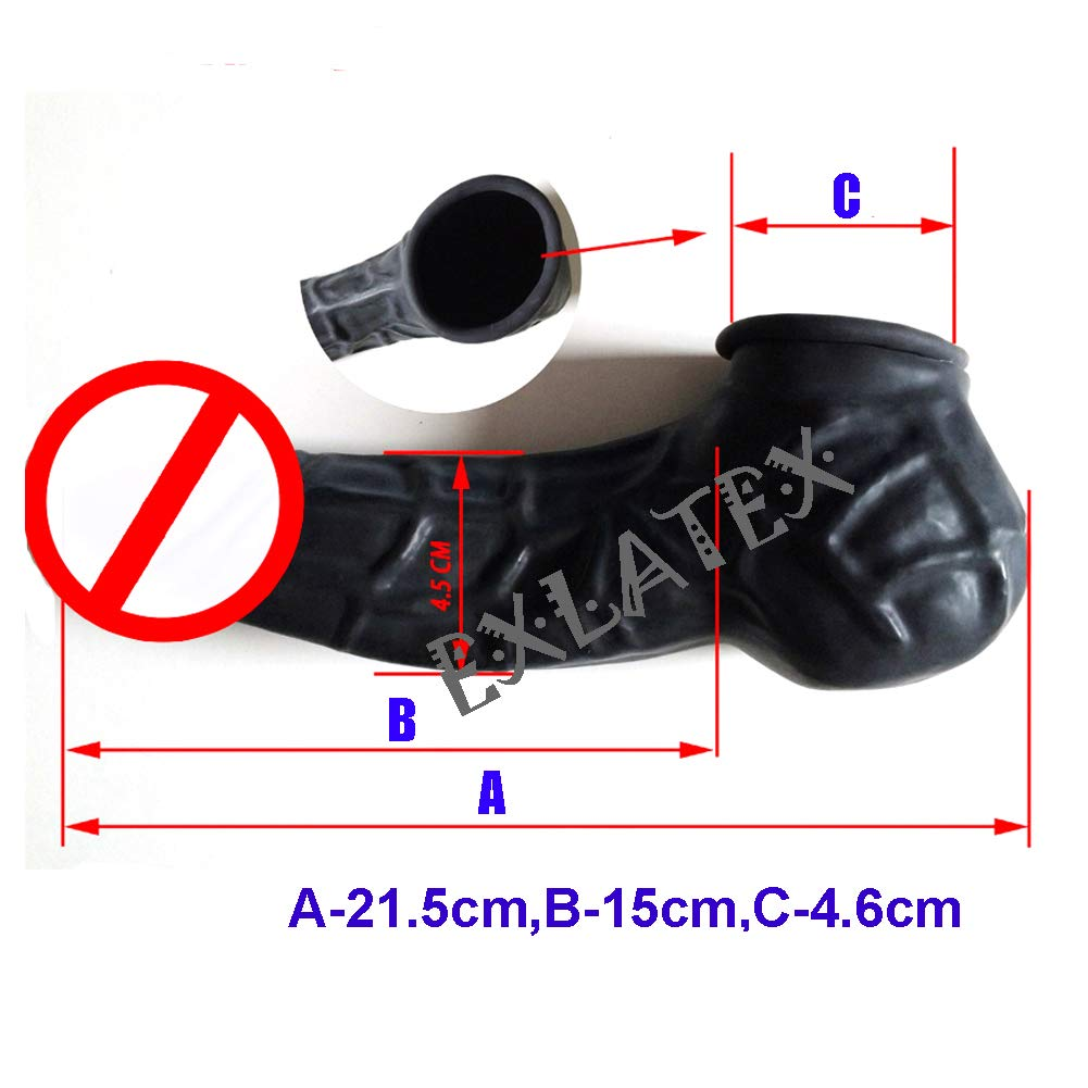 EXLATEX Latex Mens Cock and Ball Sheath Anatomical with Edge Rolled//Unrolled One Size