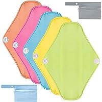 Rovtop 5PCS 25 cm Reutilizables de Toallas Femeninas Colores - Almohadilla Menstrual Reutilizable Compresa + 2 Bolsa de Transporte Mini