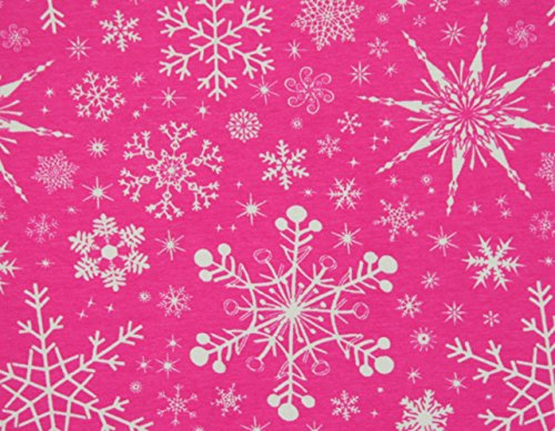 [Knit Pink Snowflakes Design Fabric by the Yard, 95% Cotton, 5% Lycra, 60 Inches Wide, excellent quality, medium weight, 4 way stretch (2] (Vintage Paisley Print Costumes)