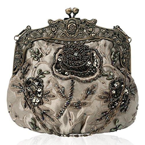 Evening Floral Handbag Interior Satin Vintage Green Beaded Clutch Sequin Kissing Lock Design Womens 8Zzt4n