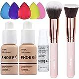 Phoera Foundation 102 and 103 ,Hilareco Full Coverage Foundation Set, Foundation Brush Powder Brush,5 Makeup Sponge…