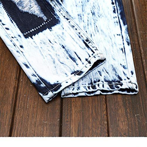 Motard 39 Bien En Pantalons Fois Taille Déchiré À couleur Bleu Et 1 3 Eu Pantalon Rétro Hommes Élastique Coupé Bleu Force Pour La Denim vv7xrH