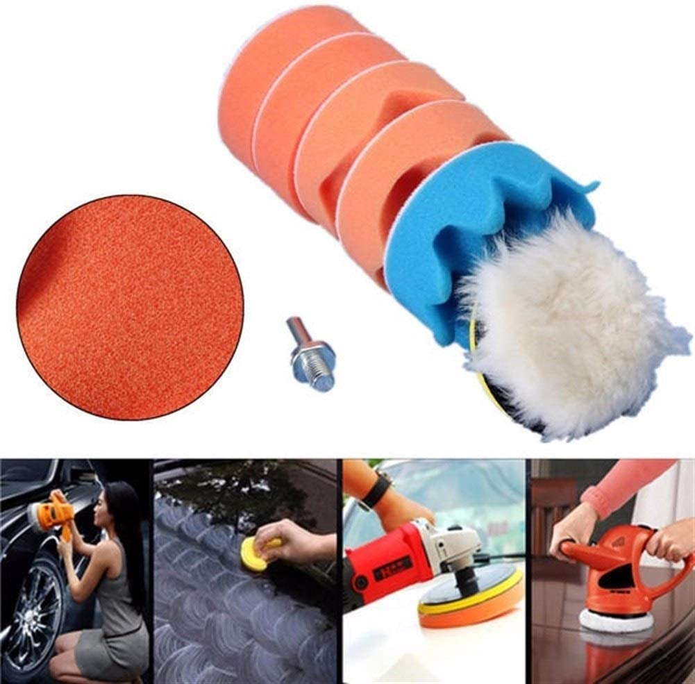 SDY-SDY 7pcs 3 Inch Wheel with M10 Drill Adapter Buffing Pad Polishing Waxing Abrasive Drill
