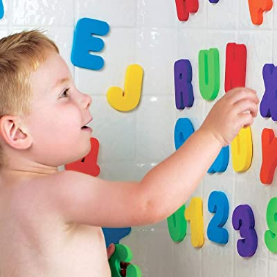 NOENNULL Children Bathing Toy36Pcs A-Z Letters and 0-9 Numbers Foam Floating Bath Tub Stickers Toddler Child Toys: Home & Kitchen