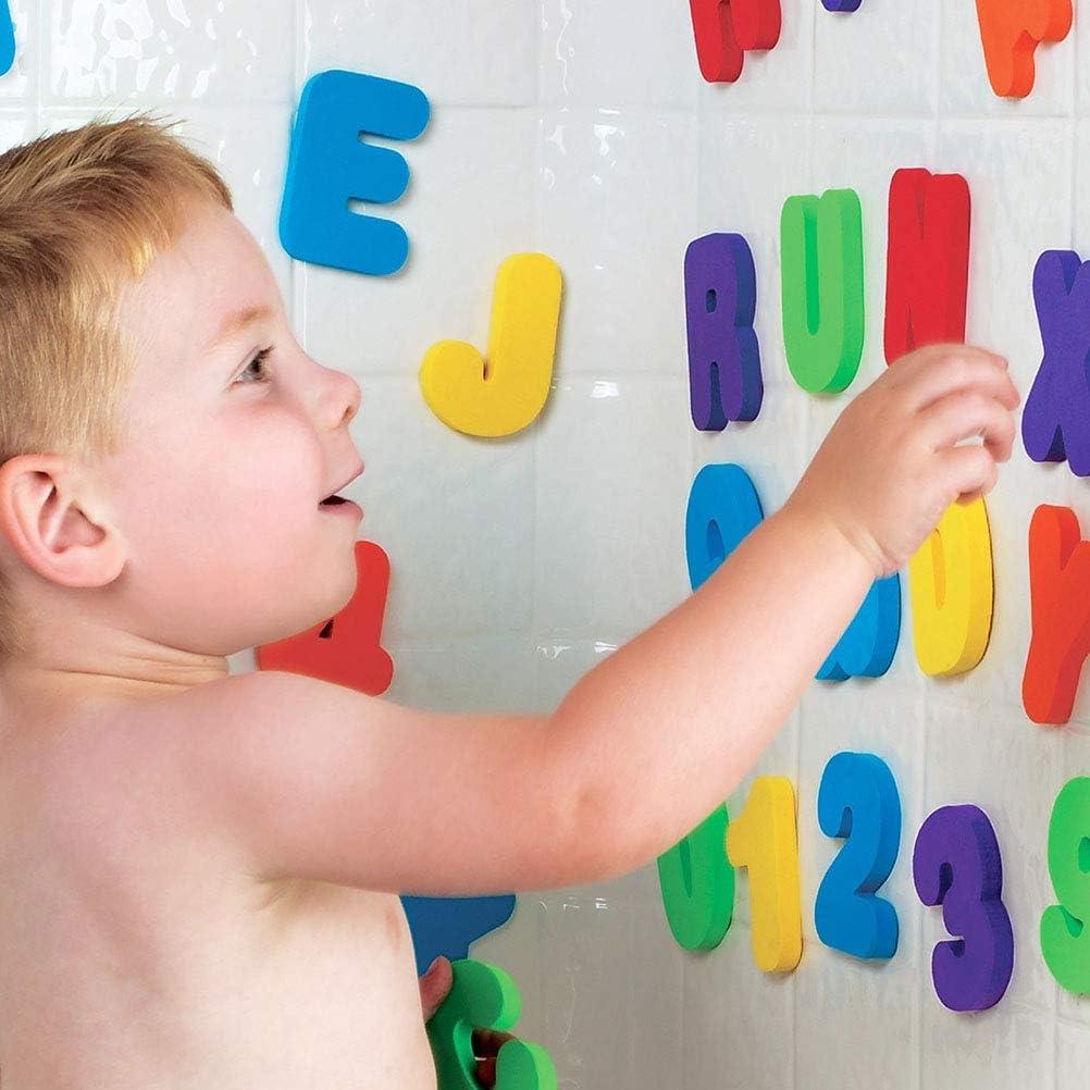36 Pezzi Lettere AZ e 0 9 Numeri Schiuma Adesivo Vasca da Bagno Galleggiante Bambino GiocattoloSpugna Glitter Schiuma Lettere e Numeri Giocattolo da