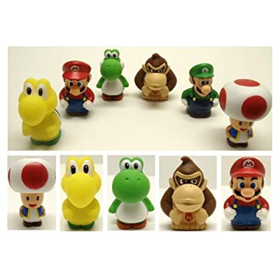 Super Mario Brothers 6 Piece Bath Play Set Featuring Mario, Luigi, Koopa Troopa, Yoshi, Donkey Kong, and Toad: Toys & Games