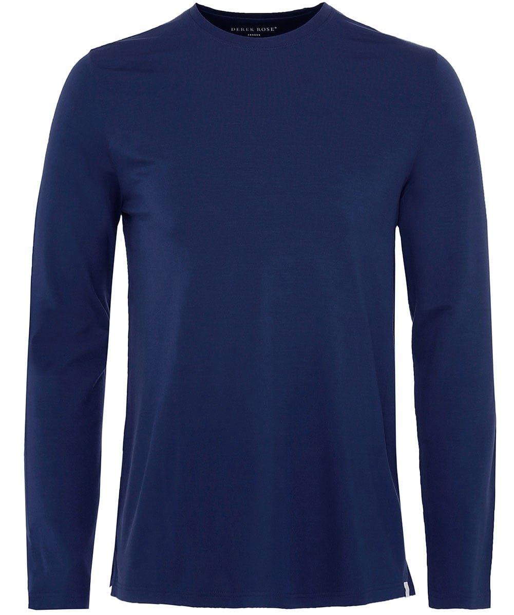 Derek Rose Men's Long Sleeve Basel T-Shirt Denim S