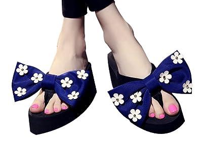 f3fab996ae9bbe Womens Big Bowknot Summer Wedge Platform Heel Cute Flip Flops Thong Slipper  Shoes Sandals (4.5