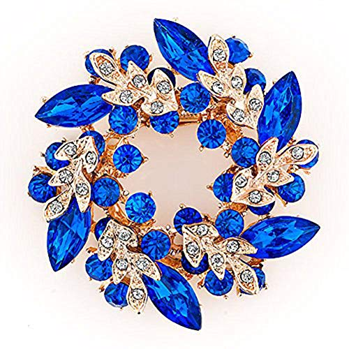 LuckyJewelry Fancy Vintage Rhinestone Crystal Flower Brooch Bouquet Pins For Sale Cheap (Blue) -
