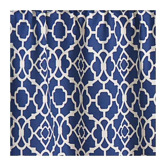 Waverly 12459050X016IND Lovely Lattice 50-Inch by 16-Inch Window Valance, Indigo - Coordinating curtain panel sold separately 3-inch rod pocket with 2-inch header Unlined, easy care machine wash - living-room-soft-furnishings, living-room, draperies-curtains-shades - 61t6A54wsfL. SS570  -
