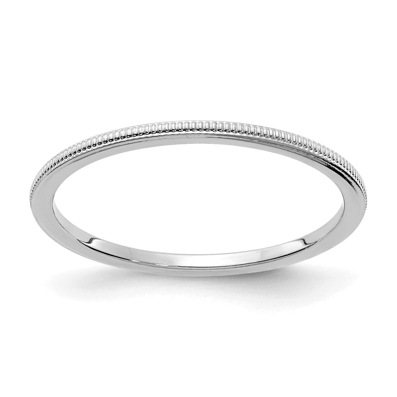 Lex & Lu 10k White Gold 1.2mm Milgrain Stackable Band Ring LAL227-Prime by Lex & Lu