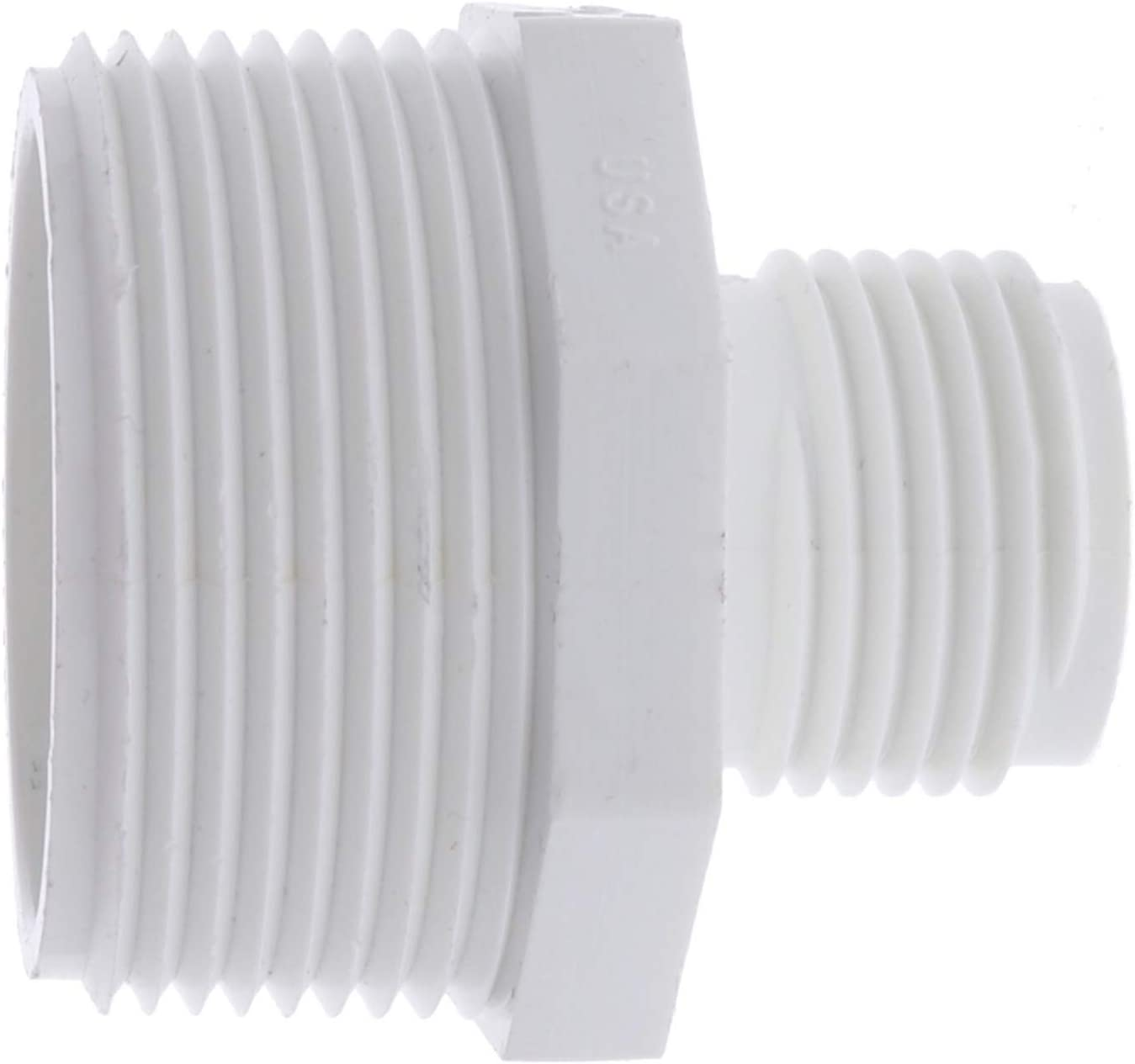 "PVC Garden Hose Adapter (Male 1.5"" NPT x 3/4"" GHT) for Sump Pump"