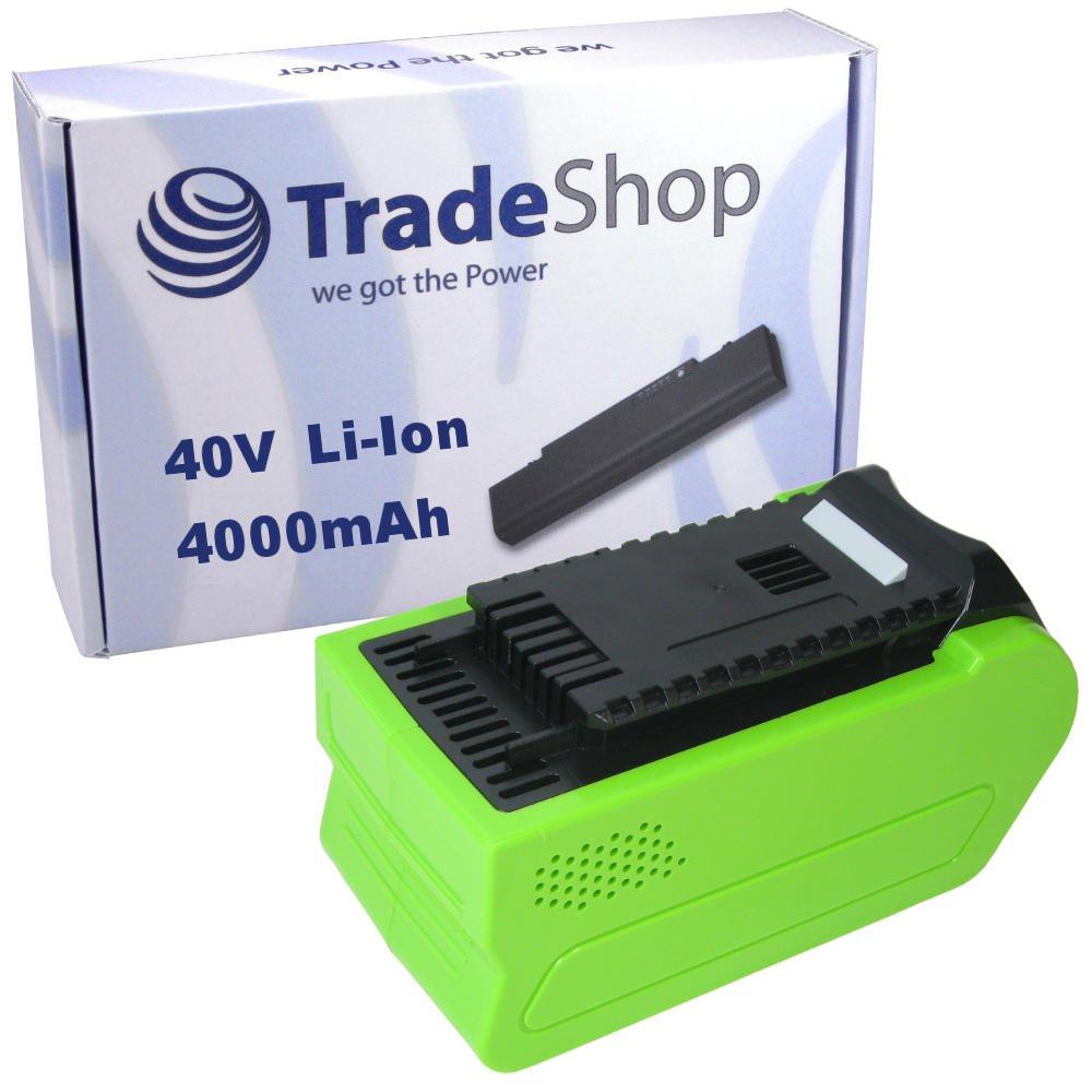 Trade-Shop Premium Li-Ion Akku, 40V / 4000mAh / 160Wh ersetzt Greenworks Tools 29472 29282 2601102 20302 2601402 29727 für G-MAX Rasenmäher 2500007 2500107 2500207, Rasentrimmer 21107, Gebläse 24107