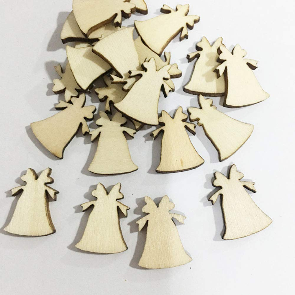 100pcs Easy Joy Embellissements Bois Noel Decoration Original Mini Deco Ornement Flocon de Neige Arbre Cloche Cerf pour Sapin Table Mur