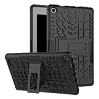 """Amazon fire 7"""" (2017 Release) Case,[Kickstand Feature],Shock-Absorption/High Impact Resistant Heavy Duty Armor Defender Case for Amazon Fire 7 inch 2017 Tablet (Black)"""