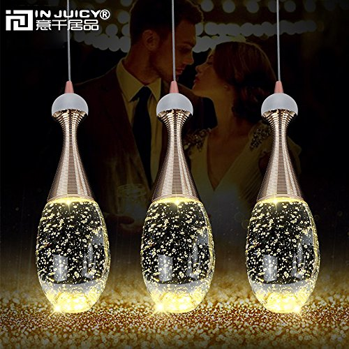 Injuicy Lighting Modern Luxury Crystal Bubble Perfume Bottle Pendant Lights Fixtures American Led Pendant Lamps for Cafe Bar Dining Rooms Restaurants Living Room Bedrooms Gift (3 Head Rectangle Plate) by Injuicy (Image #2)
