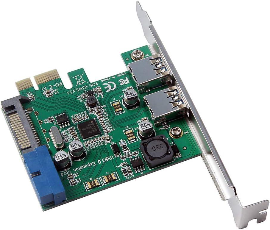 Leslaur Scheda di espansione PCI-E a USB 3.0 ad Alta velocit/à Scheda convertitore 19-Pin PCI Express per PC Desktop