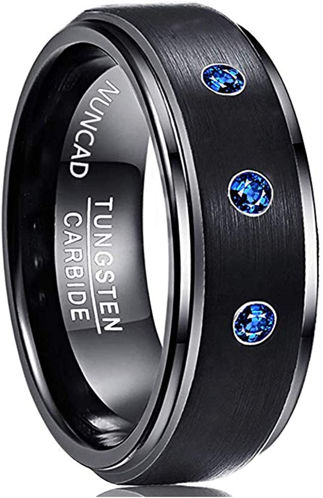 NUNCAD Men's Black Tungsten Wedding Ring Blue CZ Brushed Finish Comfort FitSize 7 to 12