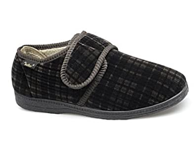 Men's Dr Keller Dr Don Wide Fitting Velcro Check Slipper With Memory Insole Size  6-12: Amazon.co.uk: Shoes & Bags