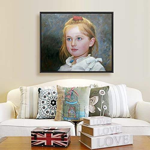 Custom Painting Hand-Painted Oil Portraits on Canvas from Your Photos 24x36inch 1person, Framed-Wood L1