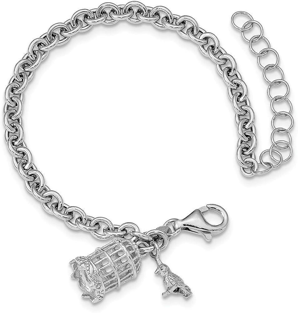 Hermosa plata de ley 925, jaula para pájaros y pájaros de rodio con 2 brazaletes en el ext. Viene con un regalo de joyería gratis
