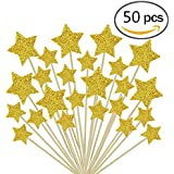 Jelacy 50 Pieces Cupcake Toppers Gold Star Birthday Cupcake Toppers Baby Shower Cupcake Toppers for Wedding Birthday Cake Snack Decorations Picks Suppliers Party Accessories