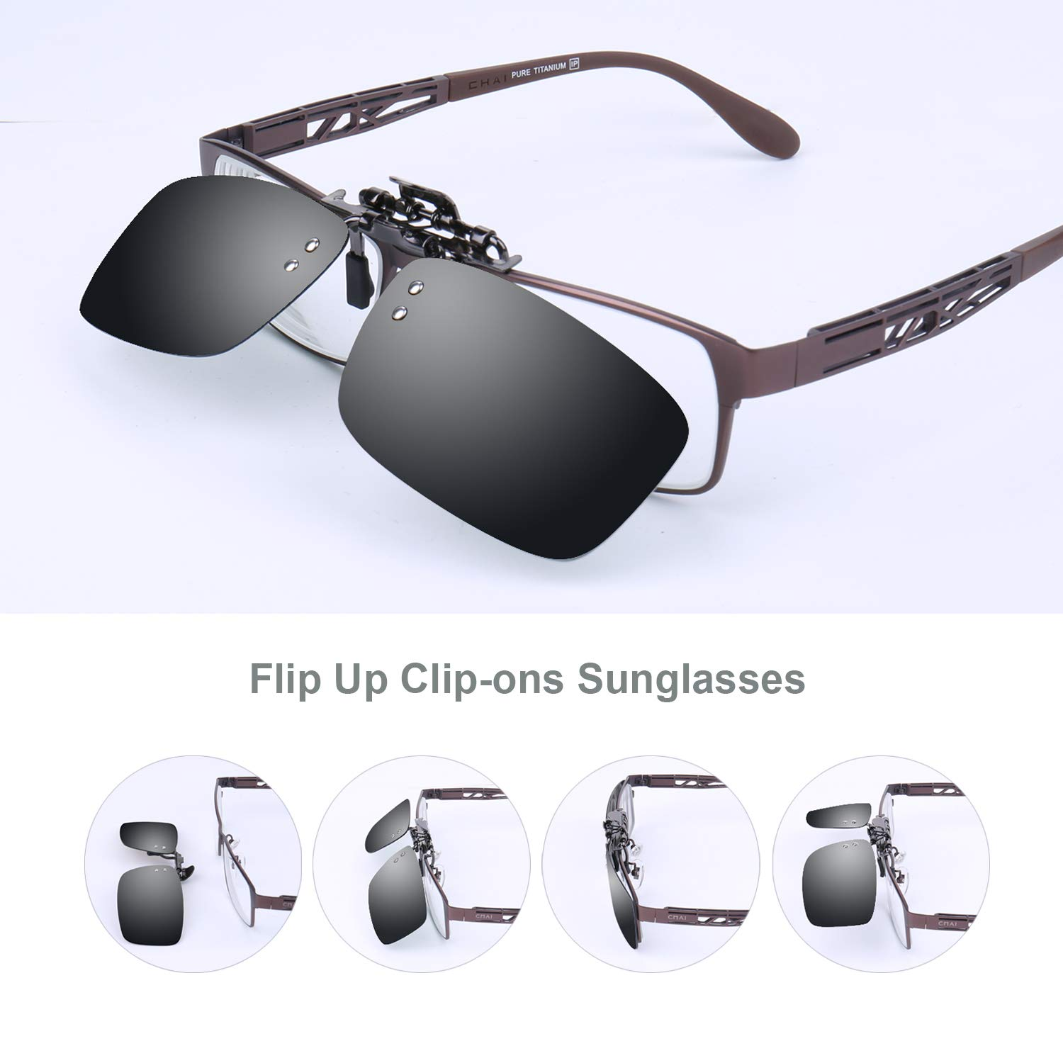 b505a8d7153 Amazon.com  Besgoods Polarized Clip-on Flip up Metal Clip Sunglasses Lenses  Glasses Unisex Driving Fishing Outdoor Sports  Clothing