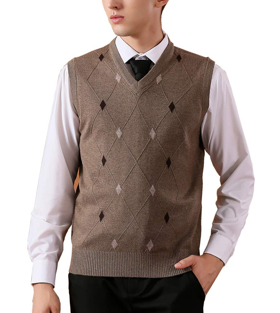 Jesdo Men's Casual Slim Fit V-Neck Rhombus Business Knitwear Sweater Vest (L, Khaki) by Jesdo
