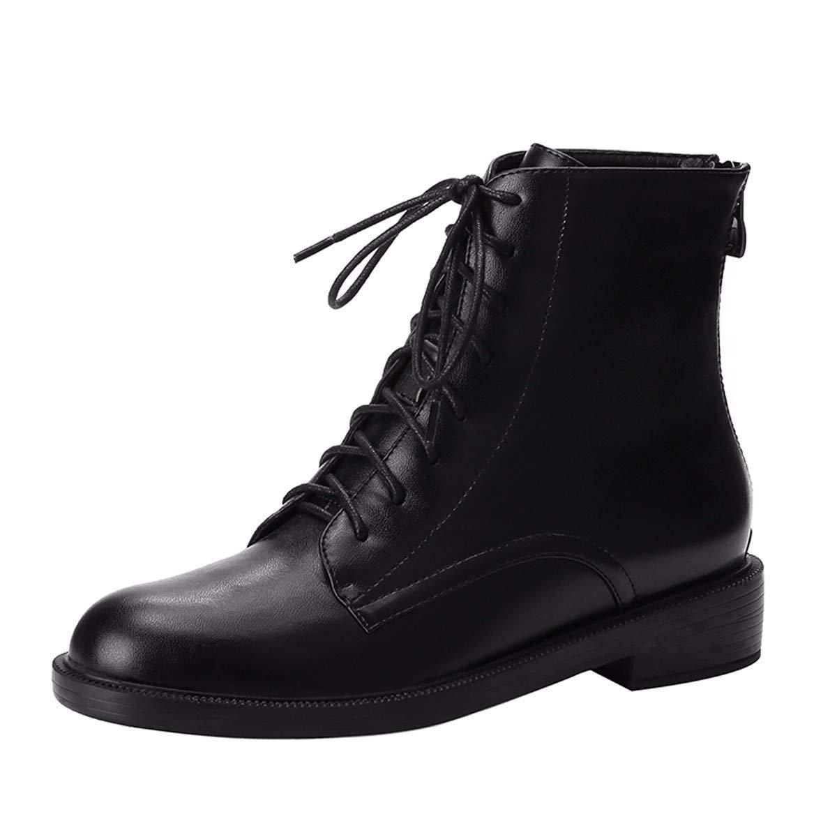 KOKQSX-Damen - Stiefel echtes Leder Runden Kopf Krawatte Mode Schuhe Martin Stiefel.