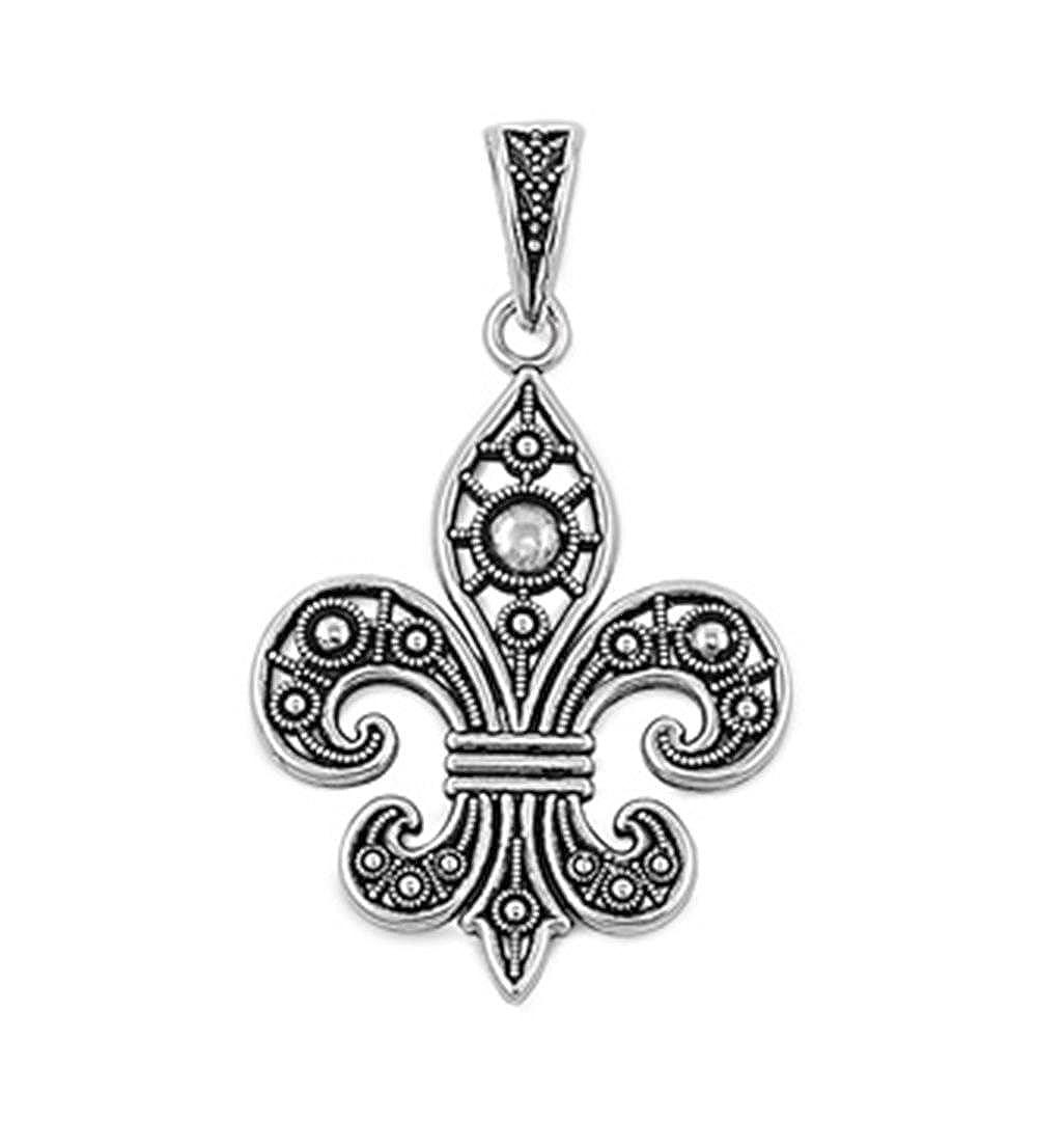 51mm Glitzs Jewels Sterling Silver Fleur De Lise Pendant