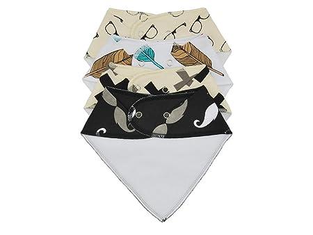 4-Pack Unisex Bebé Niños Bandana Drool baberos Con Broches de presión suave algodón orgánico Regalo Único de ducha Set super absorbente para la dentición ...