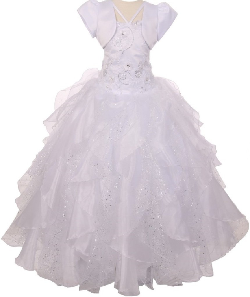 Big Girls' Sequin Flower Layer Tulle Communion Flowers Girls Dresses White 10