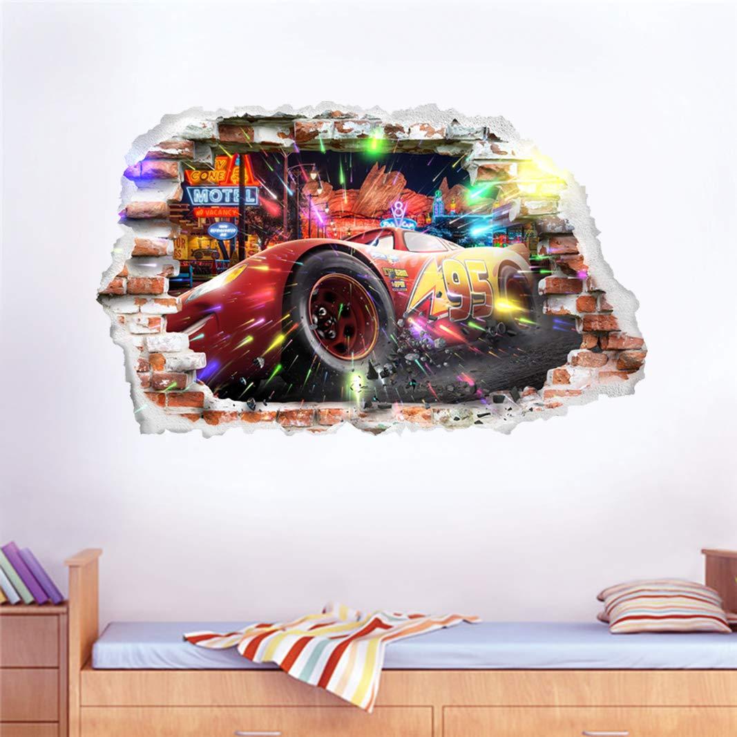Interpaw Cars 3D McQueen Cartoon Smashed Stickers muraux pour Chambres gar/ç ons et Filles Sticker Mural Taille Grand 93 cm X 57 cm Interspauda