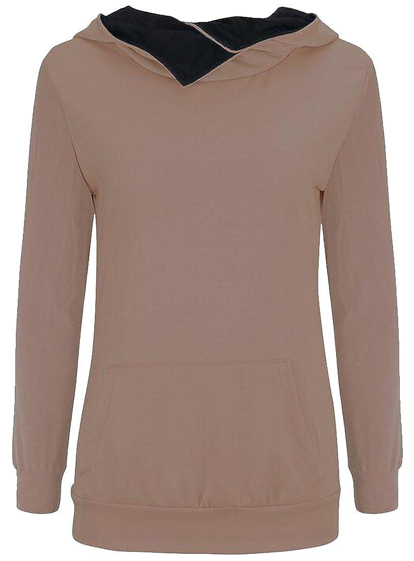 Honey GD Women Solid Big Pockets Slim Fit Long Sleeve Pullover Hoodie