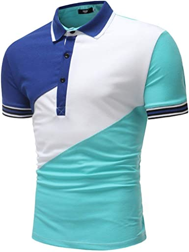 Camisa De Polo De De Hombre De Camisa Polo Manga Corta De Joven Colores Mezclados Camisa De Polo De Blusa De Botón De Moda Casual Básica Blusa Básica: Amazon.es: Ropa y accesorios
