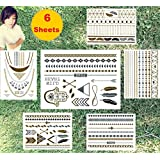 Super Metallic Gold Silver Black Jewelry Temporary Bling Tattoo 6 Sheets Pack