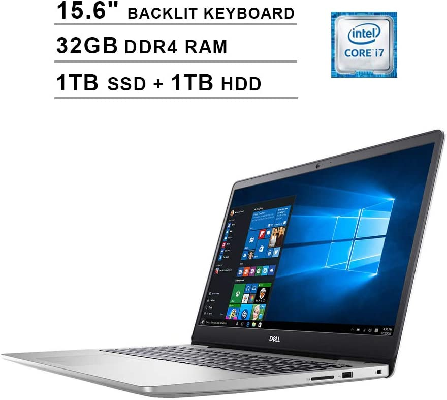 2020 Dell Inspiron 5000 15.6 Inch FHD 1080P Touchscreen Laptop, Intel Core i7-1065G7 up to 3.9GHz, Intel UHD Graphics, 32GB DDR4 RAM, 1TB SSD (Boot) + 1TB HDD, Backlit KB, HDMI, WiFi, Windows 10