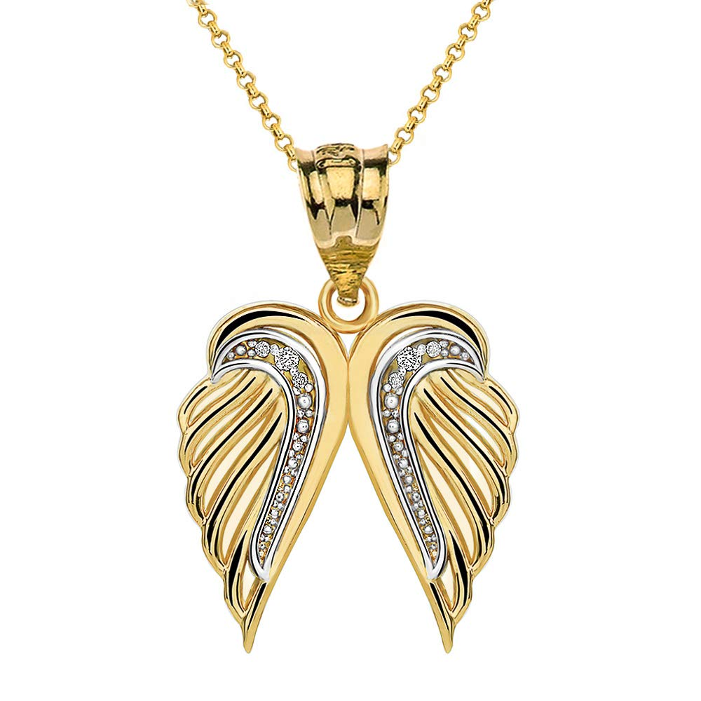 CaliRoseJewelry 10k Feather Dainty Angel Double Wing Diamond Pendant Necklace in Yellow Gold, 22''