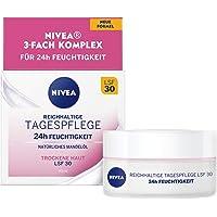 NIVEA Rijke dagverzorging 24 uur vocht SPF 30 (50 ml), gezichtscrème voor droge en gevoelige huid, dagcrème met…