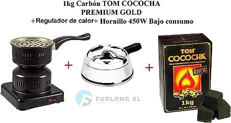 Pack] 1kg CARBÓN para cachimba TOM COCOCHA Premium Gold, HORNILLO ...