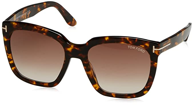 8006624d1258 Image Unavailable. Image not available for. Color  Tom Ford FT0502 52F Dark  Havana Amarra Square Sunglasses ...