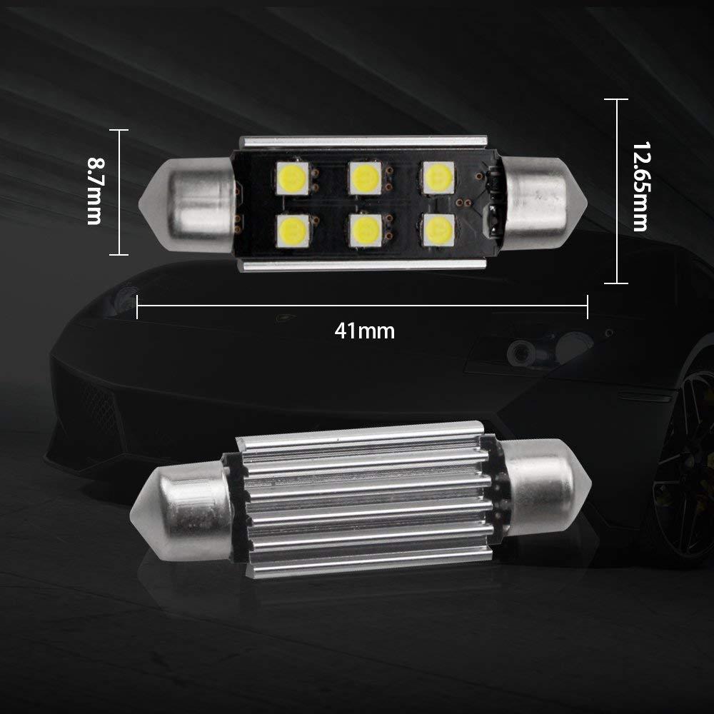 /2/212/ /& 12/V CANBUS libre de errores canbus luz de c/úpula de mapa tronco 3030/6-SMD no polaridad LED bombillas para Veh/ículo 211/ 1.65/ 2-pack 480/l/úmenes XENON Blanco 42/mm